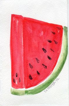 Watermelon Watercolor Painting Fruit Series 4 x by SharonFosterArt, $8.75