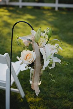 Ceremony flowers, beautiful colors, love the lily too and burlap, but burlap seems a little too slapped together