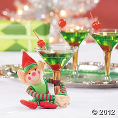 Elf Cocktail  1 oz. melon liqueur  2 oz. citrus flavored vodka  1 oz. white cranberry juice  Maraschino cherries for garnish  Combine melon liqueur, vodka, and cranberry juice in an ice-filled shaker. Shake vigorously and strain into cocktail glass. Garnish with cherries