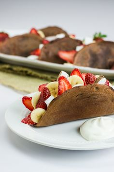 Fruit filled chocolate tacos
