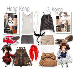 """Hetalia! Hong Kong and South Korea♡"" by me0andjustme on Polyvore"