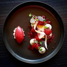 Opalys Bavaroise, Atsina Cremeaux, Raspberry and Rhubarb - by @vidal31  Join our community for chefs, food lovers, enthusiasts, ceramic designers, photographers, food designers and all those who work with and around food  Direct link in bio.