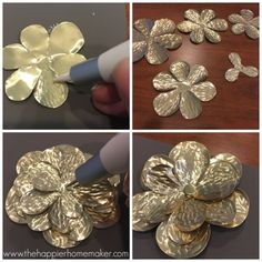 These DIY metal roses are easy to make and a stunning DIY embellishment with endless posibilities!Read the latest ideas and information for metal crafts Tin Can Art, Soda Can Art, Tin Art, Aluminum Foil Art, Aluminum Can Crafts, Metal Crafts, Metal Roses, Metal Flowers, Diy Collage
