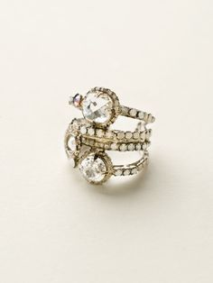 Stacked Crystal Ring in White Bridal by Sorrelli - $80.00 (http://www.sorrelli.com/products/RCG18ASWBR)