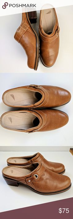 RED WING | NWOT cognac mules NWOT gorgeous camel colored red wing mules/clogs. Stacked chunky 2 inch heel, buckle on side of shoe. Medium width. Red Wing Shoes Shoes Mules & Clogs
