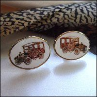 Vintage Cufflinks Antique Cars 1970s Mens Jewelry