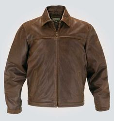 Brown Bomber Leather Jacket For Mens Jacket Features Outfit type: Genuine Leather Jacket Gender : male Color : Brown Front : Zip Closure Collar : Shirt Collar Lining : Viscose Lining Cuffs : Button Cuffs Pockets: Two Side pockets​ Bomber Jacket