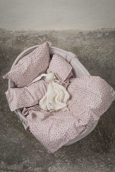 Byheritage- bedset for basket, pink allocerprint