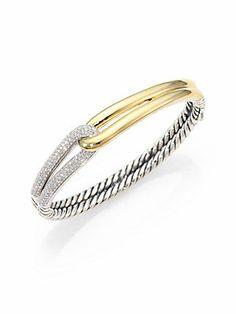 David Yurman Diamond, 18K Yellow Gold & Sterling Silver Interlocking Bangle Bracelet