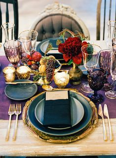 Bold Colourful Reception at Peace Barn by Paula LeDuc Fine Catering Decadent jewel tone tablescape with deep purple table runner, purple goblets, gold flatware and gold charger. Styling and design by Paula LeDec. Photo by Jesse Leake. Wedding Table Decorations, Wedding Table Settings, Decoration Table, Desk Decorations, Wedding Tables, Wedding Reception, Jewel Tone Wedding, Burgundy Wedding, Wedding Colors