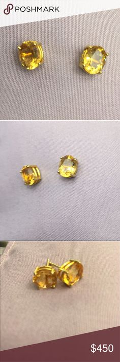 14k gold oval citrine stud earrings. TCW 3. Stunning, large natural citrine gemstones, 4 prong set in 14k yellow gold. November birthstone. Perfect condition. Bright and sparkling. 14k gold oval citrine stud earrings. TCW 3. Jewelry Earrings