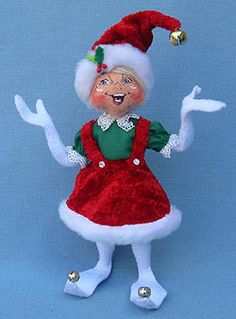 """Annalee 9"""" Cozy Christmas Girl Elf  Annalee Doll Description: Open eyes, mouth expression may vary, blonde hair, white body, red crushed velour hat and skirt, green shirt accented with lace, bells on tips of toes and hat. Companions are 501712, 501612 and 500512"""