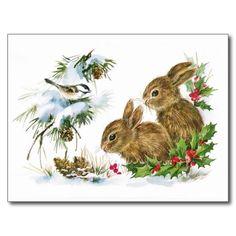 Vintage Christmas Bunny Rabbits Blank Holiday Card at Zazzle Vintage Christmas Cards, Christmas Greeting Cards, Christmas Greetings, Vintage Cards, Holiday Cards, Merry Christmas, Vintage Tins, Christmas Time, Christmas Bunny