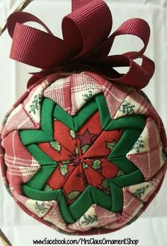 Handmade Quilted Christmas Ornament.   #ornament shop #quilted ornaments #unique ornaments #tree ornaments #custom ornaments #ornaments #christmas balls #keepsake ornament #fabric balls #christmas decoration #Christmas ornament