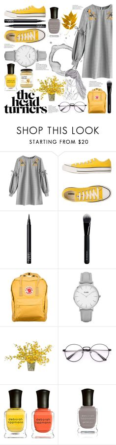 """""""The Head Turners"""" by luna-granger7 ❤ liked on Polyvore featuring Converse, NARS Cosmetics, Givenchy, Fjällräven, CLUSE, The French Bee, Deborah Lippmann, yellow, dresses and grey"""