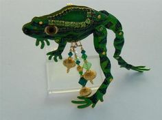 Lunch at The Ritz Couture Enamel Rhinestone Movable Frog Brooch Pendant | eBay
