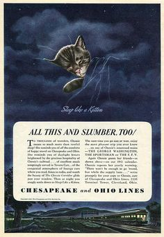 Chessie The Railroad Kitten. Digital Reproduction of original Magazine Print Ad from 1940.