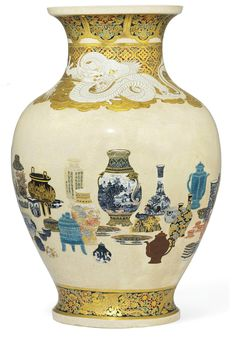 A Satsuma Vase Signed Hotozan sei, Meiji Period (late 19th century) Decorated in various coloured enamels and gilt on a crackled cream glaze with Chinese and Japanese ceramics of various types and forms including Satsuma and Kutani, the neck and shoulder with a white dragon on an ornate brocade ground, a band of ho-o birds and flowers to the foot