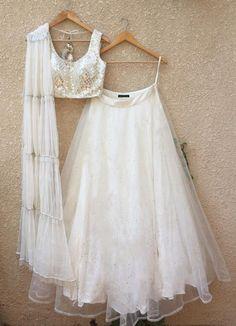 Buy White Color Lehenga by Akanksha Singh at Fresh Look Fashion Indian Fashion Dresses, Indian Gowns Dresses, Dress Indian Style, Indian Designer Outfits, Indian Outfits, Designer Clothing, Girls Dresses, Flower Girl Dresses, Indian Attire
