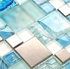 Sea Blue Green Glass Stainless Steel Tile White Kitchen B...