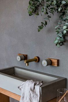 Wood Melbourne have launched their second range of timber and concrete tapware and bathroom products, this time incorporating raw brass in the mix. Eyebrow Makeup Tips Bathroom Taps, Laundry In Bathroom, Bathroom Interior, Modern Bathroom, Small Bathroom, Washroom, Bathroom Ideas, Wood Bathroom, Design Bathroom