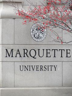 Marquette University campus marker on Wisconsin Avenue