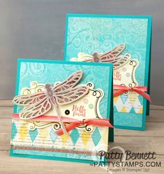 Detailed Dragonfly thinlits and Dragonfly Dreams stamp set from Stampin' Up! - Occasions catalog 2017.  Top-fold card featuring Cupcakes & Carousels paper and embellishment kit by Patty Bennett, www.PattyStamps.com
