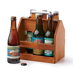This Caddy will class up any beer! Wood Six-Pack Caddy from woodthumb.com; $41.99