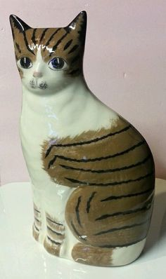 "N S GUSTIN Pottery CAT STATUE 10"" TALL Brown and White TABBY Ceramic Figurine"