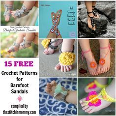 15 Free Crochet Patterns for Barefoot Sandals compiled by The Stitchin' Mommy | http://www.thestitchinmommy.com