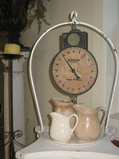 vintage scale holding vintage pitchers... <3