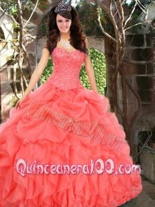 New Style Pick Ups Quinceanera Dresses in Watermelon with Beading