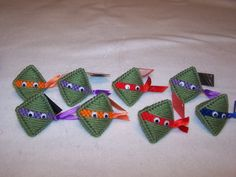 """Teenage Mutant Ninja Turtles Handmade Party Favor/Ornament/ Gift Tag """"Squeeze my cheeks"""" w/candy KISS! Plastic canvas"""