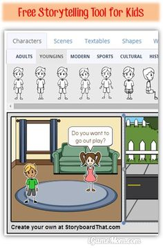 Free storytelling tool for kids - pick the images, drop them on the storyboard, add text bubbles to create stories. Many editing tools to make it fun! Great for kids creativity and imagination. Teaching Technology, Educational Technology, Teaching Writing, Teaching Tools, Elementary Teaching, Learning Activities, Kids Learning, Narrativa Digital, Digital Storytelling