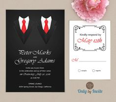 Gay Wedding Invitation Same Gender Wedding Invitations Groom