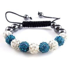 Aqua White Crystal Shambhalla Sequence Disco Ball Bracelet