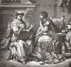 Illustration of Abelard Reading to Heloise