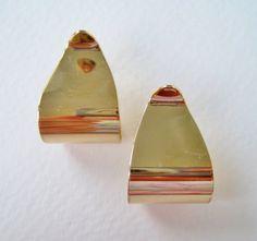 Vintage 1977 Modern Minimalist Signed Avon Polished Ribbons Goldtone Curled Hoop Earrings by ThePaisleyUnicorn, $10.00