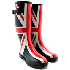 Boots~Rainboots&Umbrellas ☔️ Totally in love with these Brittish Flag inspired wellies A rain boot that can't be surpassed, this Hunter Boot welly is in a class all its own. Description from polyvore.com. I searched for this on bing.com/images