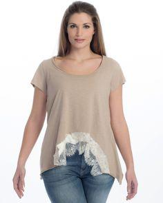 Βαμβακερή μπλούζα με δαντελένιο τελείωμα — mat. XXL sizes