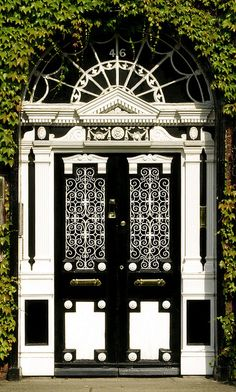 Ornate black and white door