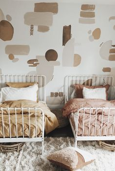 Room Trends - Canyon Colors Mahria of gave her twin girls the cutest bedroom using our Canyon Colors decal pack! Room Decor Bedroom, Girls Bedroom, Nursery Decor, Big Girl Rooms, Kids Rooms, Kids Room Paint, Boy Rooms, My New Room, Room Inspiration