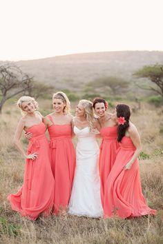 Pretty coral bridesmaid dresses!