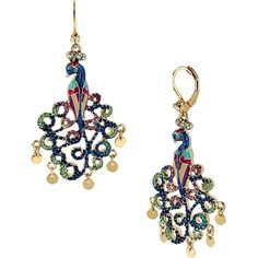 Betsey Johnson Peacoak Drop Earring ($45)