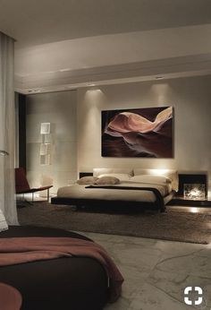 This Bedroom Has A Geometric Back Lit Wood Accent Wall For the