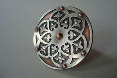 Ring | Shearin Abdel Monem. 'Ornate Shield' Riveted Sterling Silver and Copper
