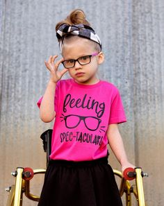 Big style for little eyes! Finally a cute tee for kiddos who ROCK their frames! Cool Girl Outfits, Toddler Modeling, Feelings, Frames, Tees, Cute, Rock, Clothes, Collection