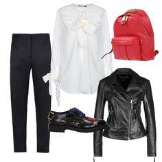 9577c31def Camicia binaca maniche lunghe con fiocco, pantaloni a sigaretta con zip  laterale, stringate nere
