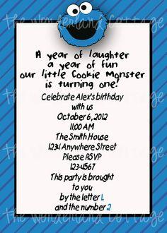 D, I like what the invite says  Sesame Street Cookie Monster Invitation on Etsy, $8.00