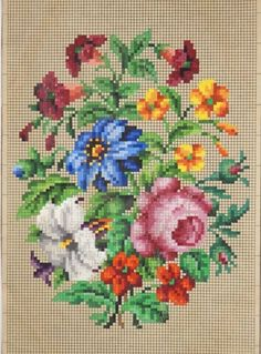 A Delicate Berlin WoolWork Floral Composition Pattern Easy Cross Stitch Patterns, Simple Cross Stitch, Cross Stitch Rose, Cross Stitch Flowers, Cross Stitch Charts, Cross Stitch Designs, Folk Embroidery, Embroidery Stitches, Embroidery Patterns